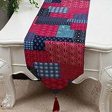 KKY-ENTER Rosa Plaid Muster Tischläufer Einfache Tischdecke Kaffeetisch Stoff Bett Flagge Schrank Flagge Tisch Matte Leinwand (nur Verkauf Tischläufer) 33 * 230cm
