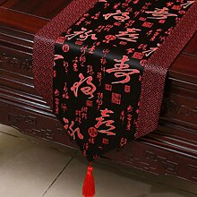 KKY-ENTER Rot Schwarz Klassisch Retro Muster Tischläufer Tischdecke Couchtisch Stoff Bett Flagge Schrank Flagge Tischplatte Lange Tischdecke (nur Verkauf Tischläufer) 33 * 150cm