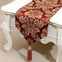 KKY-ENTER Wein Rot Blumenmuster Tischläufer Einfache Mode Tischdecke Couchtisch Stoff Bett Flagge Schrank Flagge Tischplatte Lange Tischdecke (nur Verkauf Tischläufer) 33 * 300cm
