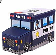 Klappbare Kids Hocker Polizei Auto-Aufbewahrung Hocker Bus Fahrzeug Spielzeug Aufbewahrungsbox Container, 7#, Einheitsgröße