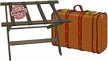 klappbarer Kofferständer Gepäckständer Koffer Hocker oder Tablettablage - edles Holz