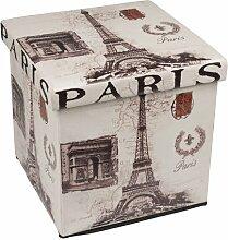 Klappbarer Polsterhocker 38x38x38cm Kunstleder Hocker Klapphocker Sitzwürfel Sitzhocker Aufbewahrungsbox Motiv Paris