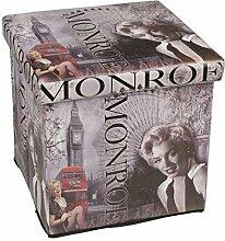 Klappbarer Polsterhocker 38x38x38cm Kunstleder Hocker Klapphocker Sitzwürfel Sitzhocker Aufbewahrungsbox Motiv Marilyn Monroe