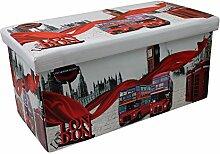 Klappbarer Polsterhocker 38x38x76,5cm Kunstleder Hocker Klapphocker Sitzwürfel Sitzhocker Sitzbank Aufbewahrungsbox Motiv London