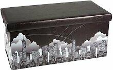 Klappbarer Polsterhocker 38x38x76,5cm Kunstleder Hocker Klapphocker Sitzwürfel Sitzhocker Sitzbank Aufbewahrungsbox Motiv NY City