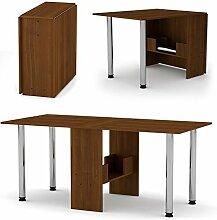 Klappbarer Tisch 374 Klapptisch Nuss mit Chromefüßen - Küchentisch - Doppelklappentisch - Esstisch - Funktionstisch - Bürotisch -Tisch klappbar