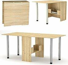 Klappbarer Tisch - Klapptisch Sonoma Eiche mit Metallbeinen - Küchentisch - Doppelklappentisch - Esstisch - Funktionstisch - Bürotisch - Raumwunder - Tisch klappbar - NEU!