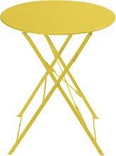 Klappgartentisch aus Metall, D 58cm, gelb