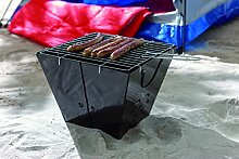 Klappgrill Picknickgrill mit Grillrost zum Einlegen Campinggrill faltbarer Metall Korpus Freizeitgrill für Picknick