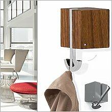 Klapphaken-Garderobe DEKORA Nussbaum Holz - schwenkbar für Kleiderbügel oder 2 Haken - Zinkdruckguss verchromt , Nussbaum Gehäuse. Designer Garderoben-Haken Garderoben-Paneel