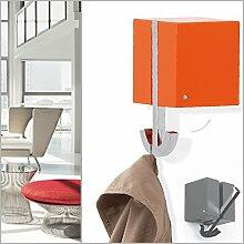 Klapphaken-Garderobe DEKORA orange - schwenkbar für Kleiderbügel oder 2 Haken - Zinkdruckguss verchromt , orangefarbenes Gehäuse. Designer Garderoben-Haken Garderoben-Paneel