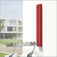 Klapphaken Garderobe Luxor rot für Balkon, Terasse und Garderobe - platzsparend, modern, stabil, Klapp-Haken aus Edelstahl, Gehäuse Aluminium pulverbeschichtet. Balkon-Klapp-Haken.