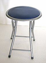Klapphocker mit Sitz weich Kunstleder; Ideal für Haus Garten, Camping, Wohnwagen blau