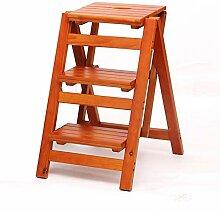 Klappleiter Multifunktions Treppenstuhl 3 Schritt Hocker Indoor Climb Leiter Massivholz Haushalt (Farbe : Light walnut color)