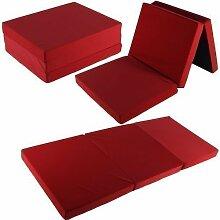 Klappmatratze 195x80x10 cm Tragetasche Liegebett Gästebett Faltmatratze Matratze (rot)