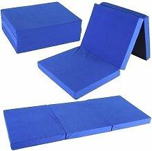 Klappmatratze 195x80x10 cm Tragetasche Liegebett Gästebett Faltmatratze Matratze (blau)