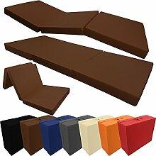 Klappmatratze Basic 195 x 65 x 8 cm komfortable Faltmatratze / Gästematratze mit Microfaserbezug bequemes Notbett / Gästebett, Farbe:Braun