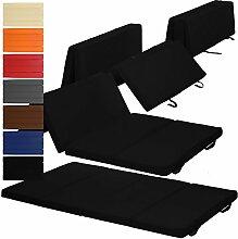 Klappmatratze Duo 195 x 120 x 7 cm komfortable Faltmatratze / Gästematratze mit Microfaserbezug bequemes Notbett / Gästebett, Farbe:Schwarz