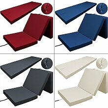 Klappmatratze Faltmatratze Matratze Gästebett Gästematratze Bett Liege - waschbarer Bezug - bis zu 3x faltbar - Tragegriff - platzsparend - Farbe: Anthrazit - Farbwahl