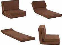 Klappmatratze / Multifunktionsmatratze in braun - Gästebett / Sessel-Liege für Kinder und Reisen