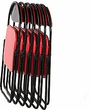 Klappstuhl Faltstuhl Gästestuhl Stuhl Metall in schwarz PVC in rot 6er Se