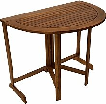 Klapptisch, Gartenklapptisch, Wandtisch, Gartentisch, Holztisch, Akazie, Massiv, halbrund, Klappentisch