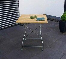 Klapptisch, Gartentisch, Gartenklapptisch, Terrassentisch, Balkontisch, quadratisch, klappbar, Robinienholz, Stahlgestell, verzink