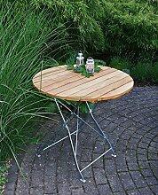 Klapptisch, Gartentisch, Gartenklapptisch, Terrassentisch, Balkontisch, rund, klappbar, Robinienholz, Stahlgestell, verzinkt, dunkelgrün