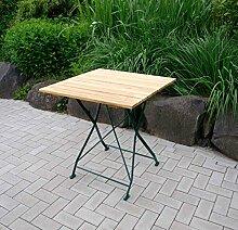 Klapptisch, Gartentisch, Gartenklapptisch, Terrassentisch, Balkontisch, quadratisch, klappbar, Robinienholz, Stahlgestell, verzinkt, dunkelgrün