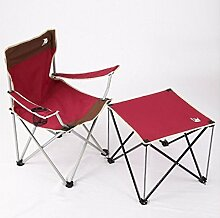 Klapptisch, im Freien Klappstuhl Portable Stuhl Klappbarer Hocker Schreibstuhl Strandstuhl Liegestuhl Pferd Hocker Sessel Angelstuhl 1 Stuhl 1 Tisch rot ( Farbe : #1 )