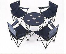 Klapptisch, im Freien Klappstuhl Tragbarer Stuhl Klappbarer Hocker Schreibstuhl Strandstuhl Liegestuhl Pferd Hocker Sessel Angelstuhl 4 Stuhl 1 Tisch blau ( Farbe : Blau )