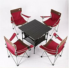 Klapptisch, im Freien Klappstuhl Tragbarer Stuhl Klappbarer Hocker Schreibstuhl Strandstuhl Liegestuhl Pferd Hocker Sessel Angelstuhl 4 Stuhl 1 Tisch rot ( Farbe : Rot )