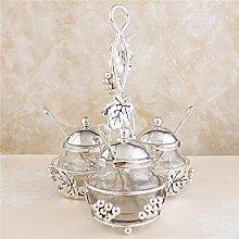 Klar Würze Rack Spice Töpfe Tee Vorratsdose Set von 3Gewürz-Boxen–Container Speisewürze Gläser mit Deckel und Servierlöffel–Silber