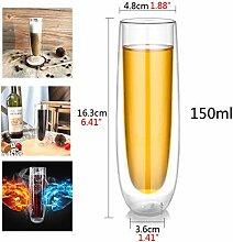 Klarglas Weinglas - doppelte Isolierung nicht