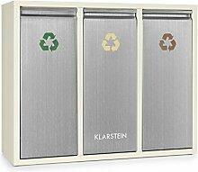Klarstein Ordnungshüter 3 • Mülltrennsystem • Mülleimer • Mülltrenner • 3 x 15 Liter • Frontklappen mit Griff • Edelstahl • farbliche Kennzeichnung • leicht zu reinigen • creme-silber