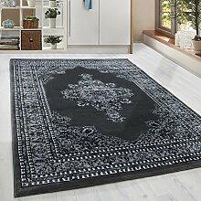 Klassiker Orient Design Teppich mit Bordüre Schwarz Grau Weiss Meliert Wohnzimmer Gaestezimmer Flur Küche ohne Fransen 6 Groessen, Größe:300x400 cm