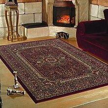 Klassiker Orient Design Teppich mit Bordüre Schwarz Rot Beige Meliert Wohnzimmer Gaestezimmer Flur Küche ohne Fransen 6 Groessen, Größe:240x340 cm