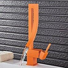 Klassisch Design 360°Drehbar Waschtischarmatur Elegant Wasserfall Bad Wasserhahn Einhebel Mischbatterie Waschbecken Armatur Einhandmischer Wasserkran Waschtischbatterie f. Badezimmer aus Messing (Rot Einbrennlack)