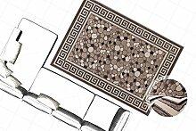 Klassisch Orient Design Teppich 3D Effekt Teppiche Steinoptik Bordüre Braun Neu, Größe:160cm x 230cm