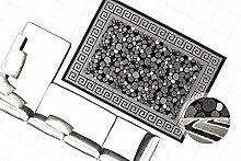 Klassisch Orient Design Teppich 3D Effekt Teppiche Steinoptik Bordüre Grau Neu, Größe:80cm x 150cm
