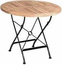 Klassisch runder Gartentisch aus Eisen und Teakholz
