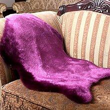 klassisch Soft Home Teppich Schaffell Stuhl Deckel Teppiche Künstliche Wolle Plain Flauschige Teppiche Schlafzimmer Decke Matte 35,4 * 23,6 Zoll ( Farbe : Lila )