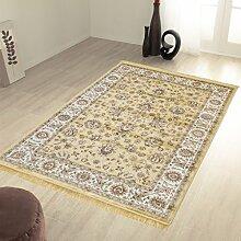 Klassisch Teppich Orient Sarouk Effekt Lucente Rubine 492-oro 2 pz. cm.70x110 + 1 pz. cm. 80x150 gold