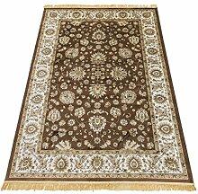 Klassisch Teppich Orient Sarouk faux-silk RUBINE 492-MARRONE 160X230