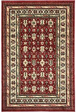 Klassisch Teppich Perser Mashad bordeaban Traditionelle rojo-negro-beige/, Polypropylen, Red, Black and Beige, 120 x 170 cm
