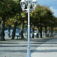 Klassische Aussenleuchte Stehleuchte Kandelaber 2/2/319 Hoflampe Hofleuchte weiß