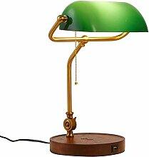 Klassische Bankerlampe Tischlampe, Retro Holz