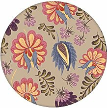 Klassische florale Tapete mit großen Folkore Blüten auf beige angepasst an Schöner Wohnen Wandfarbe Melone - Vlies Tapete Blumen - Klassische Wanddeko - GMM Design Tapete - Wandtapete - Wand Dekoration für edle Wohnakzente (Höhe 2,6m Breite 46,5cm)