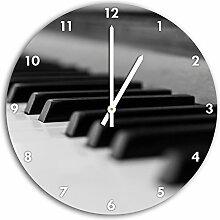 Klassische Klaviertasten, Wanduhr Durchmesser 30cm mit weißen spitzen Zeigern und Ziffernblatt, Dekoartikel, Designuhr, Aluverbund sehr schön für Wohnzimmer, Kinderzimmer, Arbeitszimmer