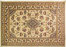 Klassische, kleine Orient Perser Design Teppich, Läufer, Blumenmuster, traditionell, Beige, 60 x 110 cm